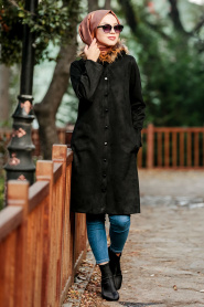 Nayla Collection - Yakası Kürklü Siyah Tesettür Süet Kap 9067S - Thumbnail