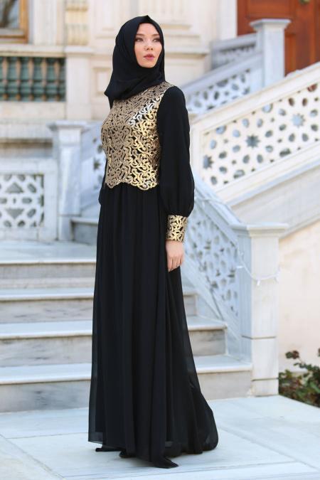 Neva Style - Önü Pul Payetli Siyah Tesettür Abiye Elbise 52584S