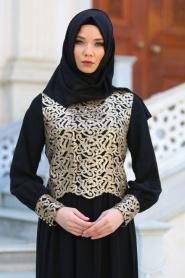 Neva Style - Önü Pul Payetli Siyah Tesettür Abiye Elbise 52584S - Thumbnail