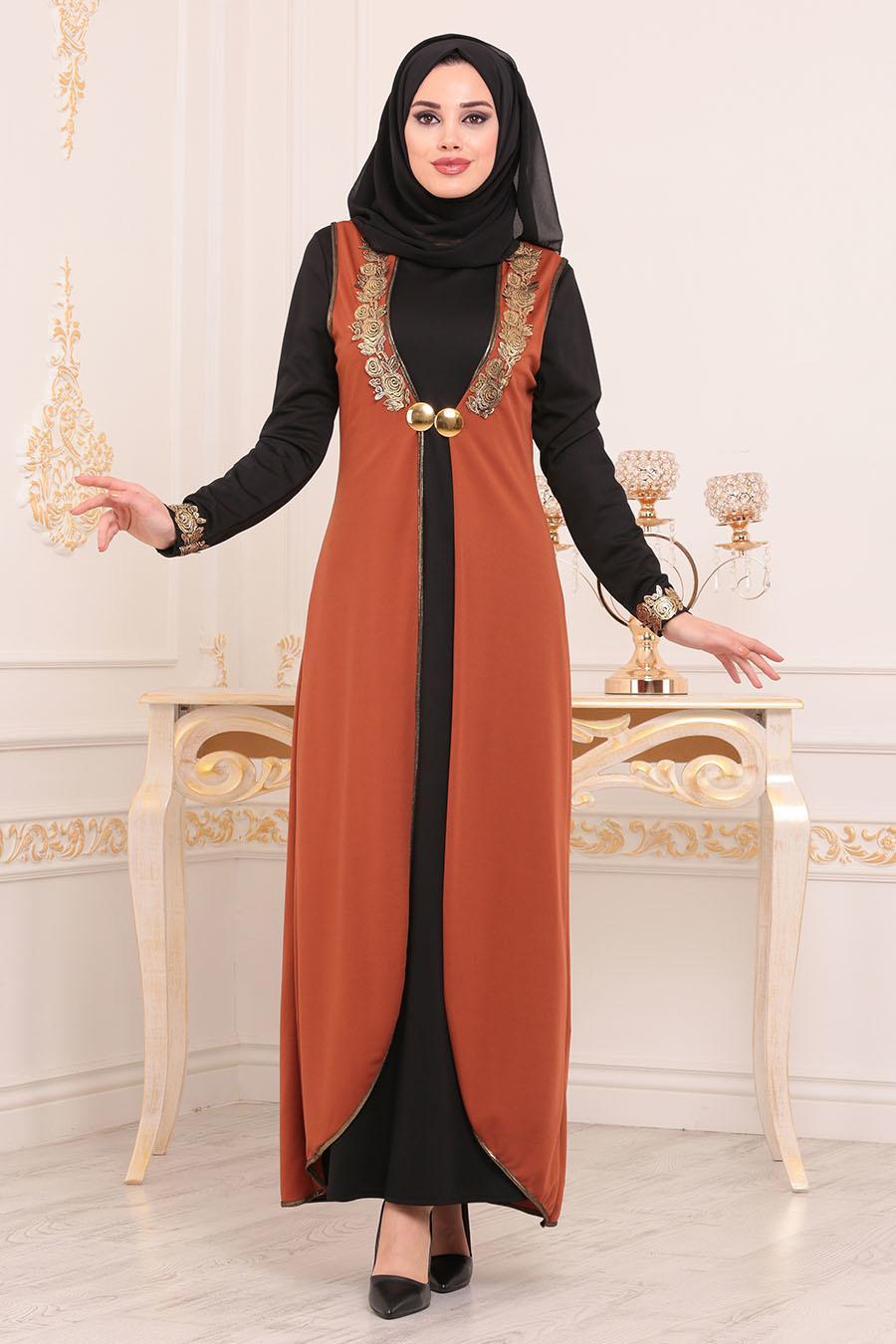 Nayla Collection - Yelekli Taba Tesettür Elbise 100303TB
