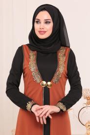 Nayla Collection - Yelekli Taba Tesettür Elbise 100303TB - Thumbnail