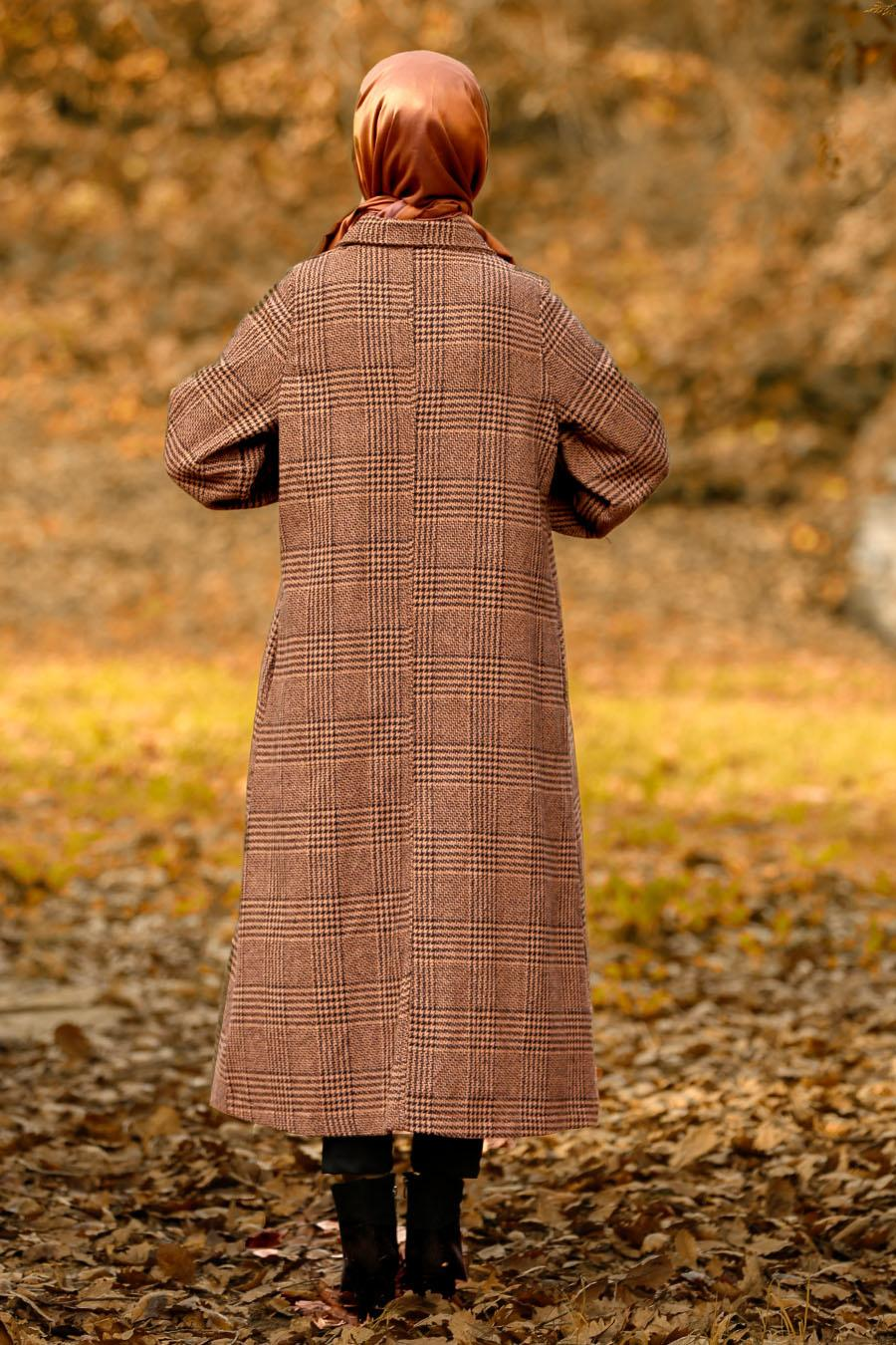 Nayla Collection - Yellowish Brown Hijab Coat 5407TB