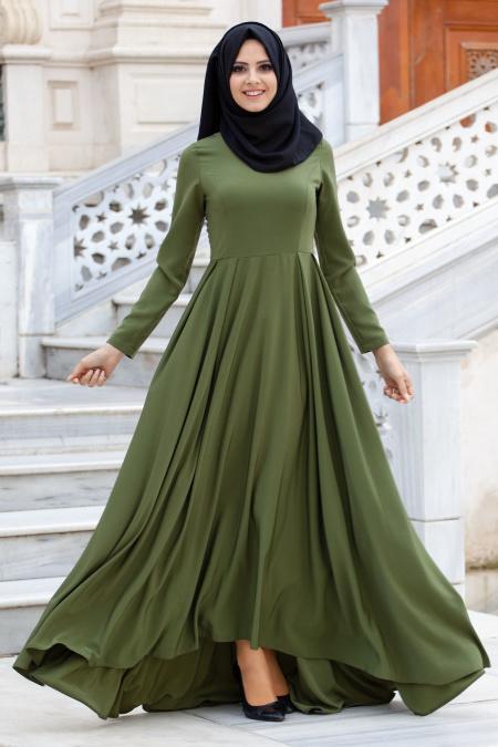 Nayla Collection - Yeşil Tesettür Elbise 61453Y