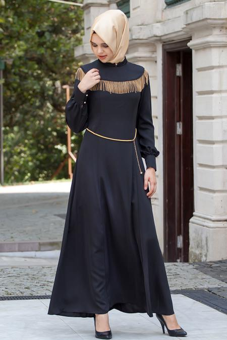 Nayla Collection - Zincir Detaylı Siyah Elbise