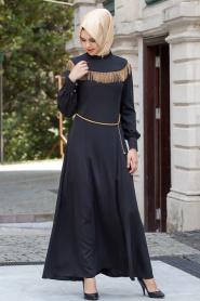 Nayla Collection - Zincir Detaylı Siyah Elbise - Thumbnail