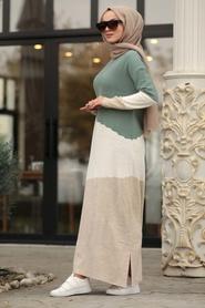 Neva Style - Almond Green Knitwear Dress 1171CY - Thumbnail
