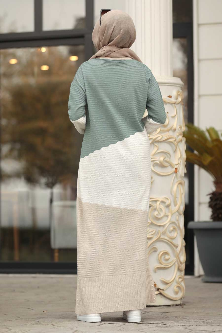 Neva Style - Almond Green Knitwear Dress 1171CY
