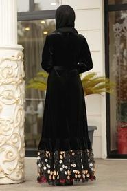 Neva Style - Altı Detaylı Siyah Tesettür Kadife Elbise 11022S - Thumbnail