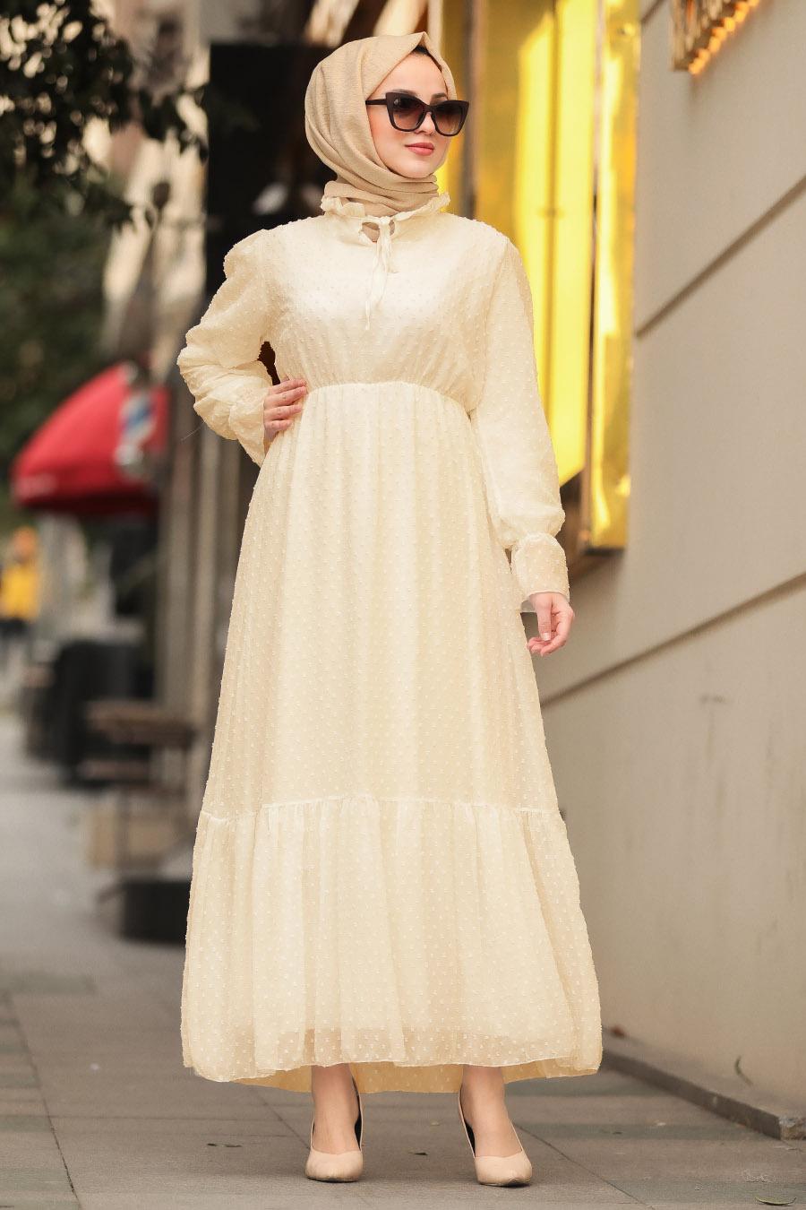 Neva Style - Aplikeli Ekru Tesettür Elbise 10077E