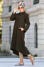 Neva Style - Arkası Uzun Haki Kaşe Tesettür Kap 51560HK - Thumbnail