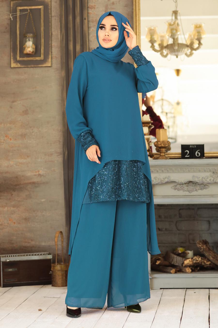 Neva Style - Arkası Uzun İndigo Mavisi Tesettür İkili Takım 50053IM