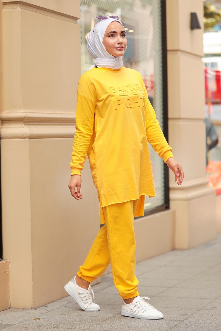 Neva Style - Arkası Uzun Sarı Tesettür İkili Takım 5742SR