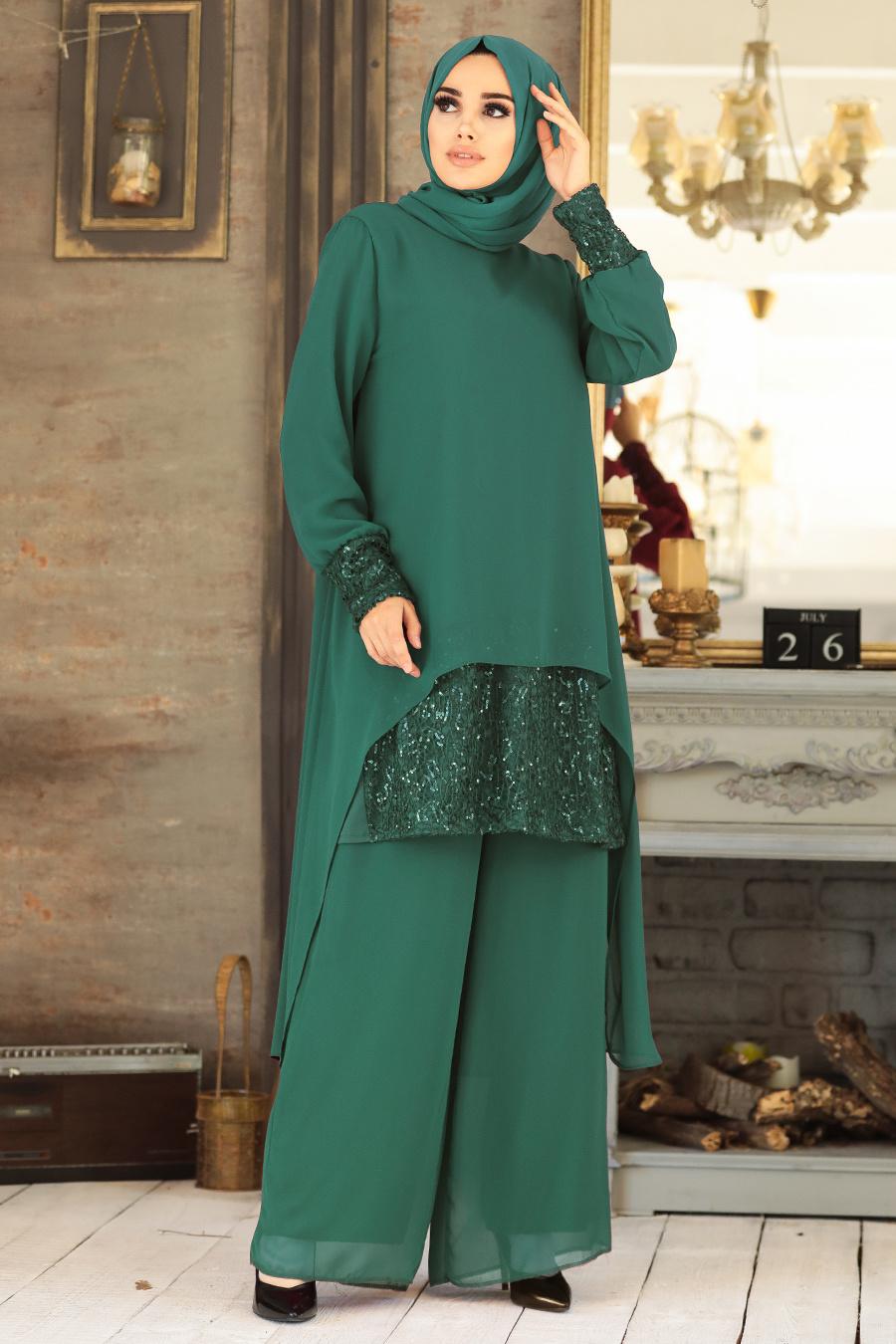 Neva Style - Arkası Uzun Yeşil Tesettür İkili Takım 50053Y