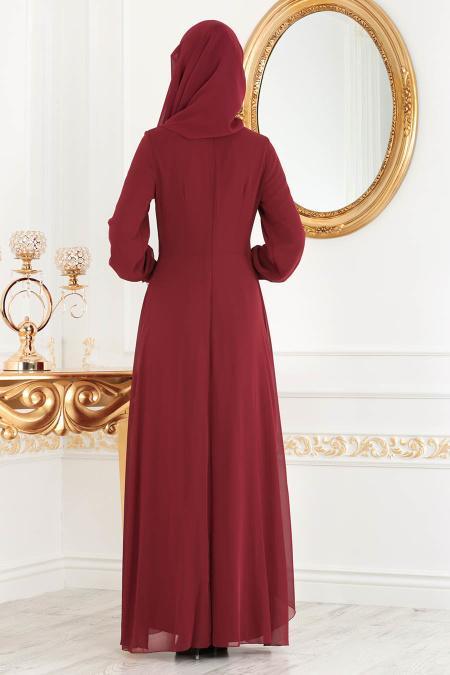 Neva Style - Asimetrik Kesim Bordo Tesettür Elbise 52547BR