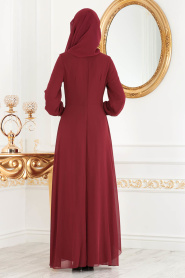Neva Style - Asimetrik Kesim Bordo Tesettür Elbise 52547BR - Thumbnail