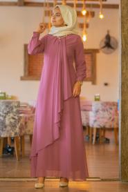 Neva Style - Asimetrik Kesim Gül Kurusu Tesettür Elbise 52547GK - Thumbnail