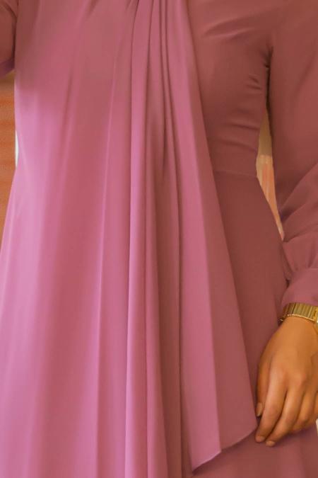 Neva Style - Asimetrik Kesim Gül Kurusu Tesettür Elbise 52547GK
