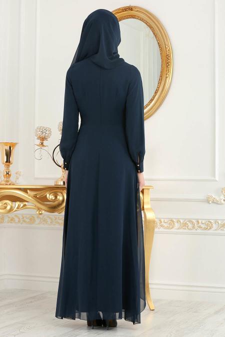 Neva Style - Asimetrik Kesim Lacivert Tesettür Elbise 52547L