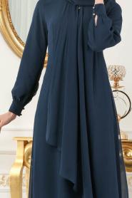 Neva Style - Asimetrik Kesim Lacivert Tesettür Elbise 52547L - Thumbnail