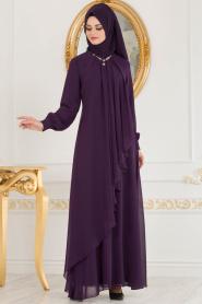 Neva Style - Asimetrik Kesim Mor Tesettür Elbise 52547MOR - Thumbnail