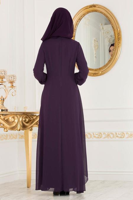 Neva Style - Asimetrik Kesim Mor Tesettür Elbise 52547MOR