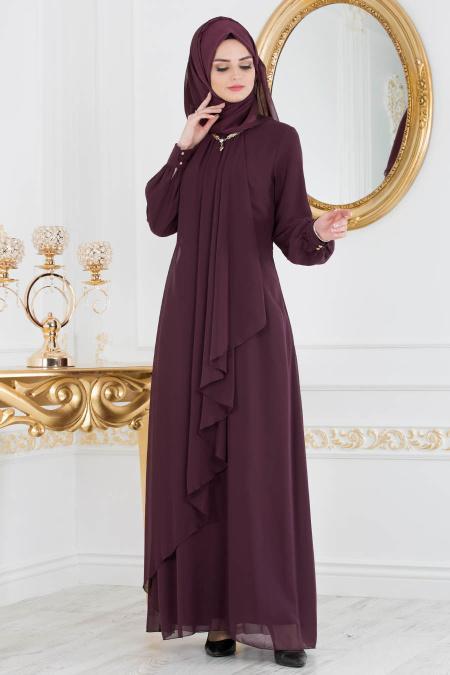 Neva Style - Asimetrik Kesim Mürdüm Tesettür Elbise 52547MU