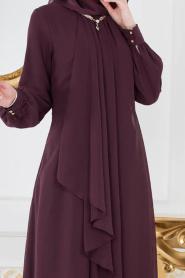 Neva Style - Asimetrik Kesim Mürdüm Tesettür Elbise 52547MU - Thumbnail