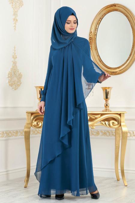 Neva Style - Asimetrik Kesim Petrol Mavisi Tesettür Elbise 52547PM