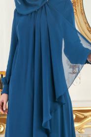 Neva Style - Asimetrik Kesim Petrol Mavisi Tesettür Elbise 52547PM - Thumbnail