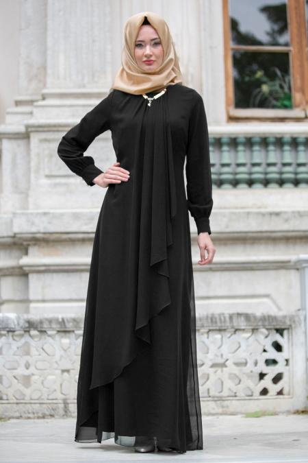 Neva Style - Asimetrik Kesim Siyah Tesettür Elbise 52547S