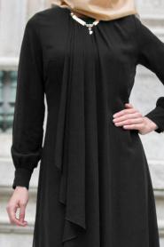 Neva Style - Asimetrik Kesim Siyah Tesettür Elbise 52547S - Thumbnail