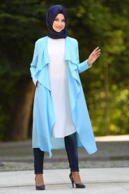 -Neva Style - Baby Blue Hijab Cardigan 52740BM - Thumbnail
