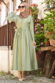 Neva Style - Bağcıklı Fıstık Yeşili Tesettür Elbise 3957FY - Thumbnail