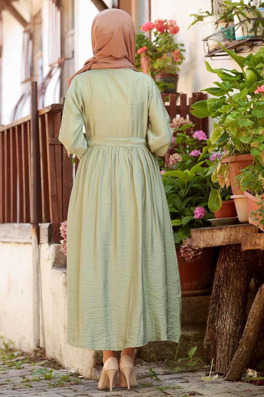 Neva Style - Bağcıklı Fıstık Yeşili Tesettür Elbise 3957FY