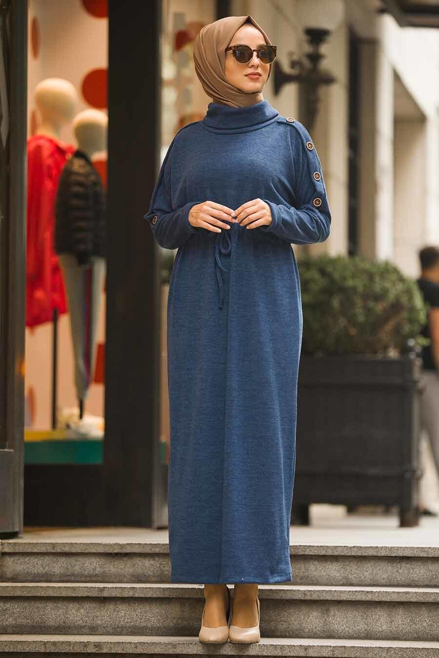 Neva Style - Boğazlı İndigo Mavisi Tesettür Triko Elbise 80350IM