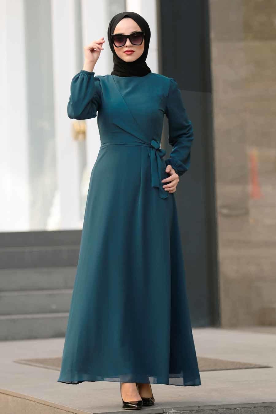 Neva Style - Bağcıklı Petrol Mavisi Tesettür Elbise 50190PM
