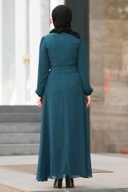 Neva Style - Bağcıklı Petrol Mavisi Tesettür Elbise 50190PM - Thumbnail