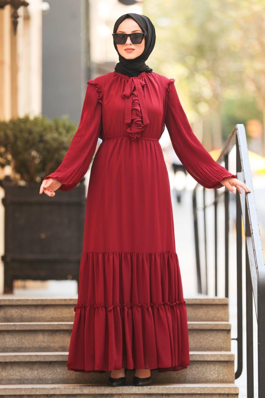Neva Style - Balon Kol Bordo Tesettür Elbise 2409BR