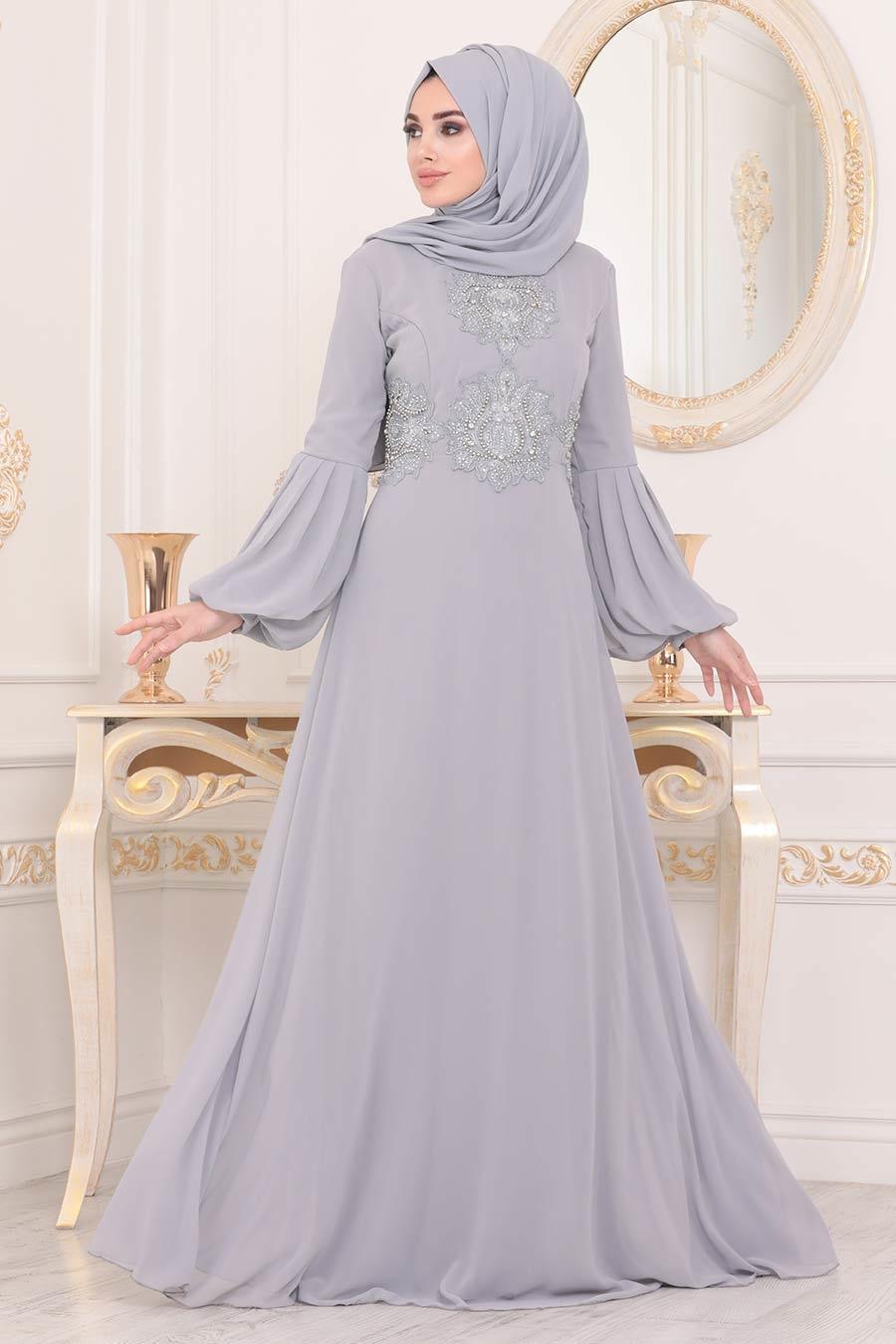 Neva Style - Balon Kol Gri Tesettür Abiye Elbise 9119GR