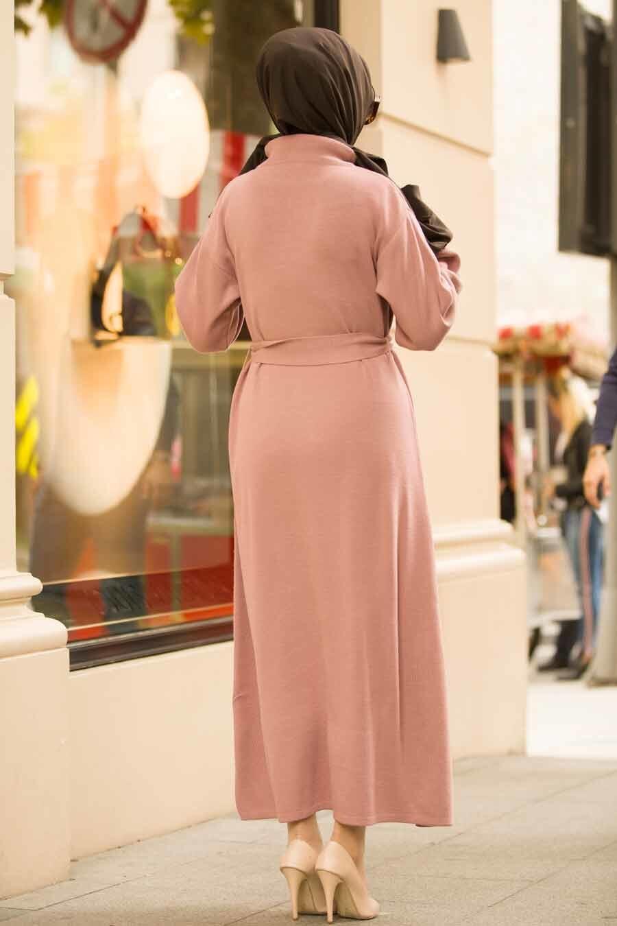 Neva Style - Balon Kol Gül Kurusu Tesettür Triko Elbise 15628GK