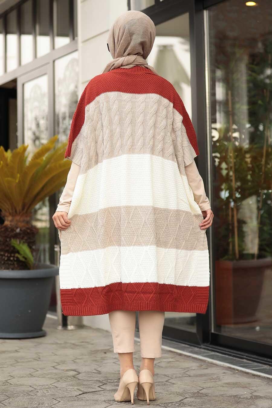 Neva Style - Beige Knitwear Poncho 2528BEJ