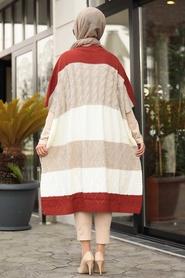Neva Style - Beige Knitwear Poncho 2528BEJ - Thumbnail