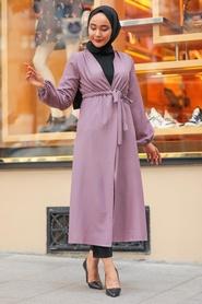 Neva Style - Belden Bağlamalı Lila Tesettür Kap 37450LILA - Thumbnail