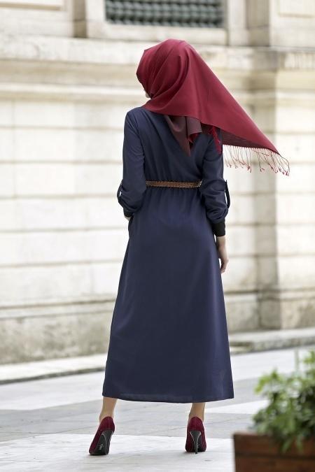 Neva Style - Belden Büzgülü Lacivert Elbise