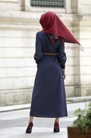 Neva Style - Belden Büzgülü Lacivert Elbise - Thumbnail