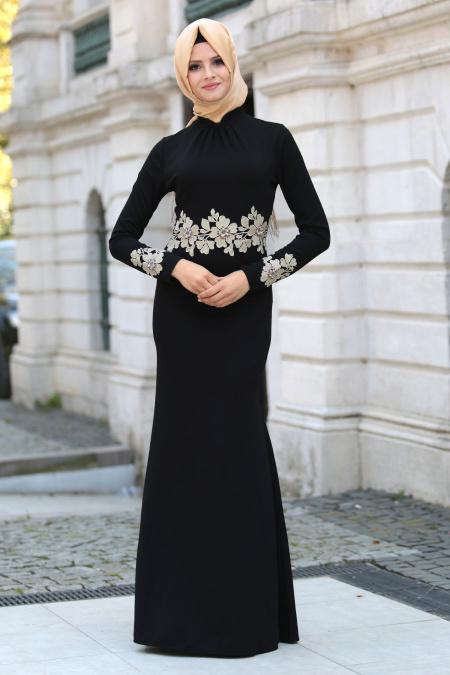 Neva Style - Beli Çiçek Dantelli Siyah Tesettür Abiye Elbise 10048S