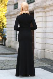 Neva Style - Beli Çiçek Dantelli Siyah Tesettür Abiye Elbise 10048S - Thumbnail