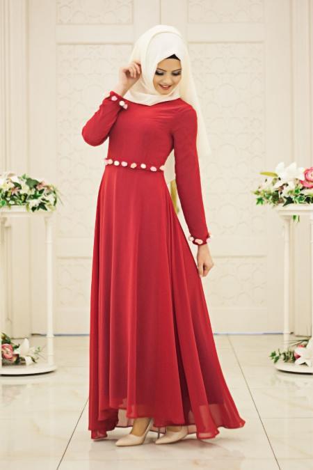 Neva Style - Beli Çiçek Detaylı Kırmızı Tesettür Elbise 40810VSN