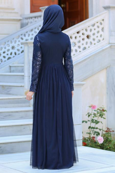 Neva Style - Beli Çiçek Detaylı Lacivert Tesettür Abiye Elbise 52562-01L