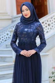 Neva Style - Beli Çiçek Detaylı Lacivert Tesettür Abiye Elbise 52562-01L - Thumbnail